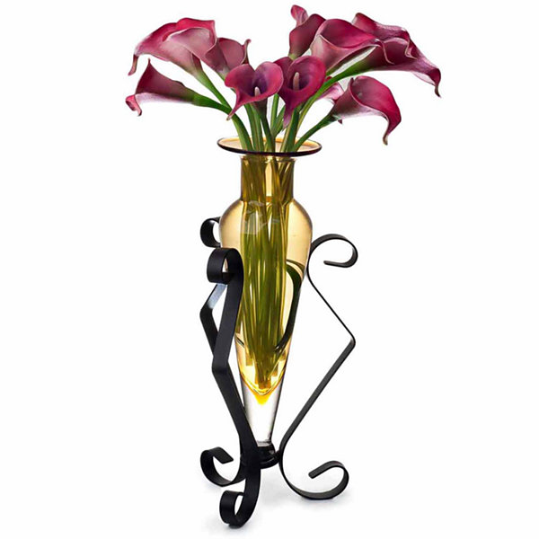 Danya B.  Amphora Glass Vase on Metal Stand