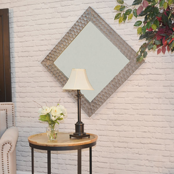 Zara Square Hammered Frame Mirror