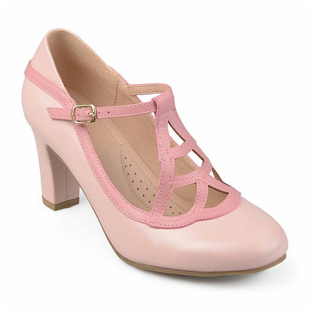 Vintage Heels, Retro Heels, Pumps, Shoes Journee Collection Womens Nile Pumps Block Heel 5 12 Medium Pink $52.49 AT vintagedancer.com