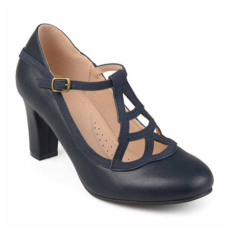 1920s Shoes for UK – T-Bar, Oxfords, Flats Journee Collection Womens Nile Pumps Block Heel 12 Medium Blue $48.99 AT vintagedancer.com