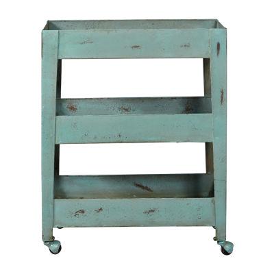 Distressed Blue Mesh Shelf Metal Trolley Cart