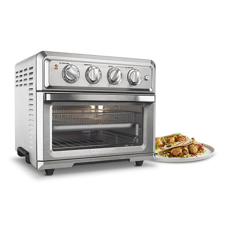 This unique kitchen workhorse is actually a premium full size toaster oven with a built-in air fryer. That means it not only bakes, broils, and toasts, it also lets you air fry right inside the oven. Air frying, which uses powerful ultra-hot air, is a healthier way to prepare delicious fried favorites, from wings to fritters to fries to shrimp. And since toaster ovens stay on the countertop, this fryer doesn\\\'t have to move back and forth, from cupboard to counter. Enjoy the crunch without the calories and messy cleanup, with the Air Fryer Toaster Oven!1800 watt7 Functions: Air Fry, Convection Bake, Convection Broil, Bake, Broil, Warm, Toast0.6 cubic foot interior with lightLarge enough to AirFry up to 3 lbs., toast 6 slices of bread, bake a 4 lb. chicken or 12\\\