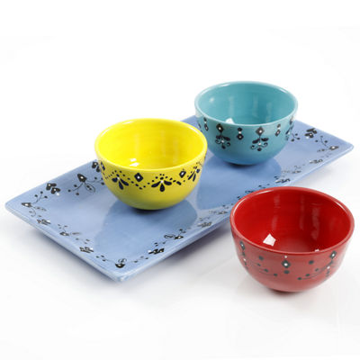 Gibson BOHO Chic 3-pc Bowl Set With Tray