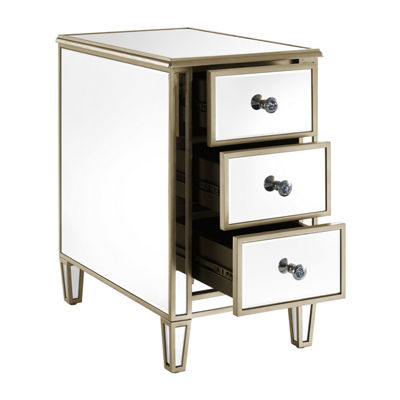 Mirrored Chairside Table With Gold Trim