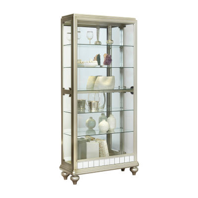 Mirrored Metallic Side Entry Curio Cabinet