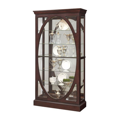 Sable Oval Framed Mirrored Curio Cabinet