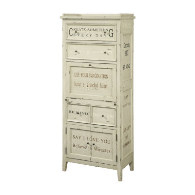 White Hand Painted Sentiments Accent Cabinet