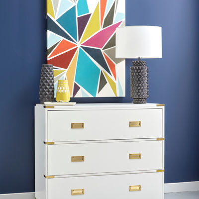 White Campaign Style Drawer Chest