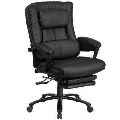 High Back Leather Executive Reclining Swivel Chair with Lumbar Support, Comfort Coil Seat Springs and Arms