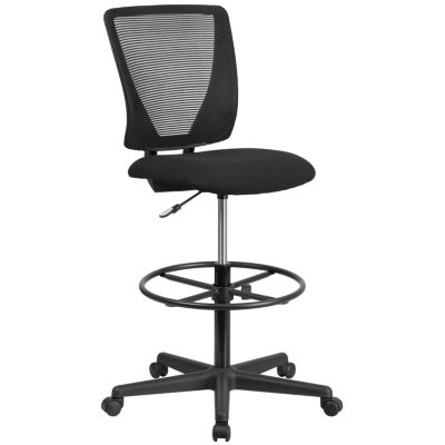Ergonomic Mid-Back Mesh Drafting Chair with FabricSeat and Adjustable Foot Ring