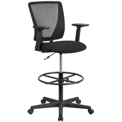 Ergonomic Mid-Back Mesh Drafting Chair with Black Fabric Seat - Adjustable Foot Ring and Arms