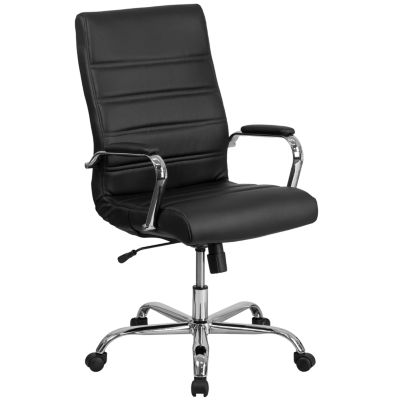 High Back Leather Executive Swivel Chair with Chrome Base and Arms