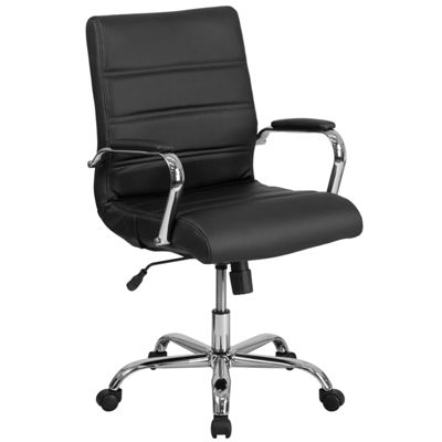 Mid-Back Leather Executive Swivel Chair with Chrome Base and Arms