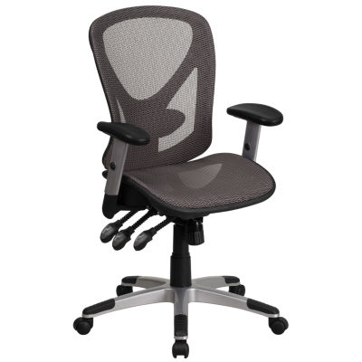 Mid-Back Transparent Mesh Multifunction ExecutiveSwivel Chair with Adjustable Arms