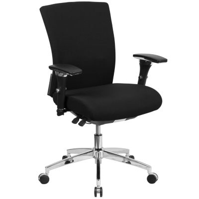 HERCULES Series 24/7 Intensive Use 300 lb. Rated Black Fabric Multifunction Executive Swivel Chair with Seat Slider