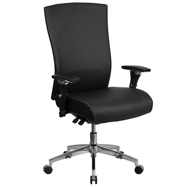 "HERCULES Series 24/7 Intensive Use 300 lb. Rated Black Leather Multifunction Executive Swivel Chairwith Seat Slider - 47.50""H"""
