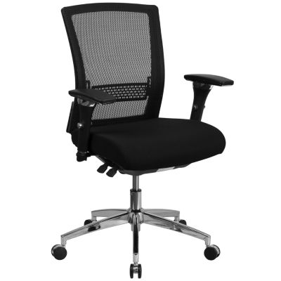 """HERCULES Series 24/7 Intensive Use 300 lb. Rated Black Mesh Multifunction Executive Swivel Chair with Seat Slider - 41.75""""H"""""""