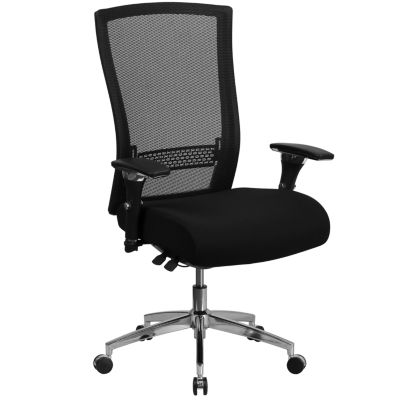 """HERCULES Series 24/7 Intensive Use 300 lb. Rated Black Mesh Multifunction Executive Swivel Chair with Seat Slider - 47.50""""H"""""""