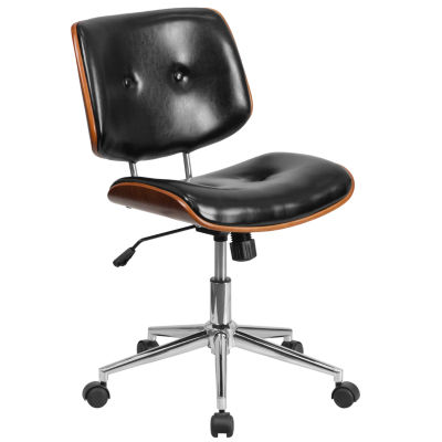 Mid-Back Leather Ergonomic Wood Swivel Task Chair