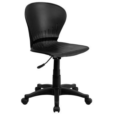 Low Back Black Plastic Swivel Task Chair