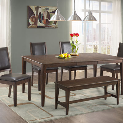 Dining Possibilities 6-Piece Rectangular Table with Upholstered Chairs and Bench