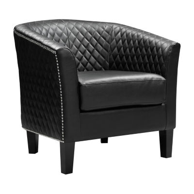 Faux Leather Accent Chair - Casino Midnight