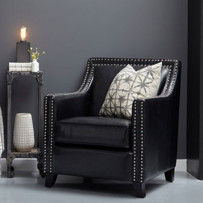 Black Faux Leather Swoop Arm Accent Chair