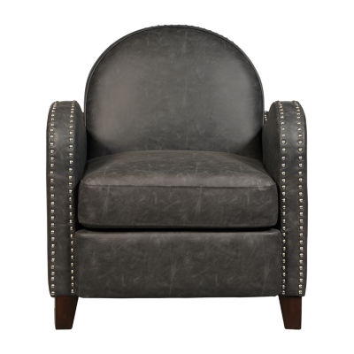 Charcoal Faux Leather Curved Arm Accent Chair