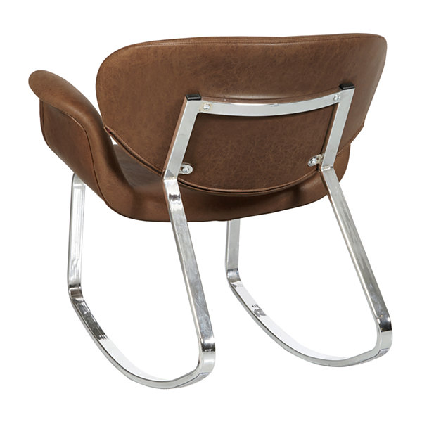 Brown Faux Leather Metal Back Rocking Chair