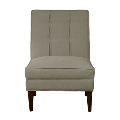 Armless Button Back Accent Chair in Fresh Dove