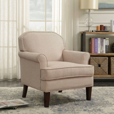 Roll Arm Accent Chair with Nail head Trim in Linen