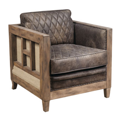 Leather & Wood Accent Chair