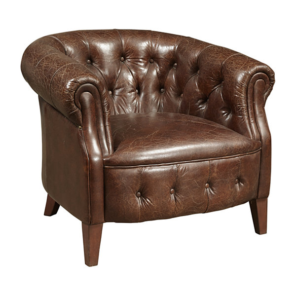 """Tufted Leather Arm Chair"