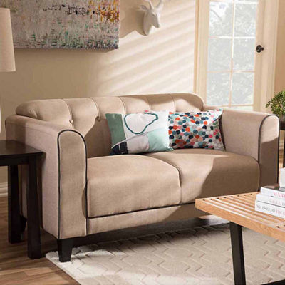 Baxton Studio Lottie Modern and Contemporary Fabric Button-Tufted 2-Seater Loveseat