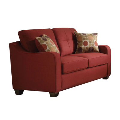 Cleavon II Loveseat with 2 Pillows Red Linen