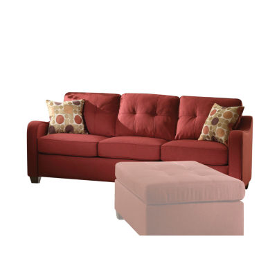 Cleavon II Sofa with 2 Pillows Red Linen