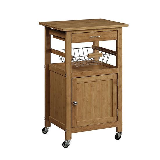 Neu Home Bamboo Kitchen Cart with Basket