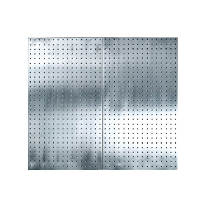 3/8 in. Silver Stainless Steel Square Hole Pegboard with Mounting Hardware
