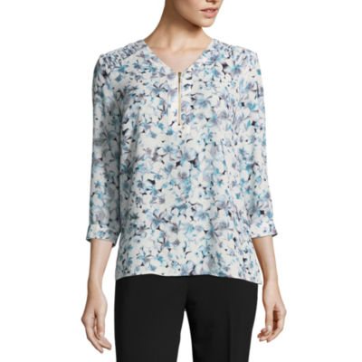 Liz Claiborne 3/4 Sleeve V Neck Georgette Blouse