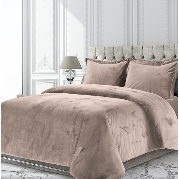 Tribeca Living Venice Velvet Oversized Solid Duvet Cover Set