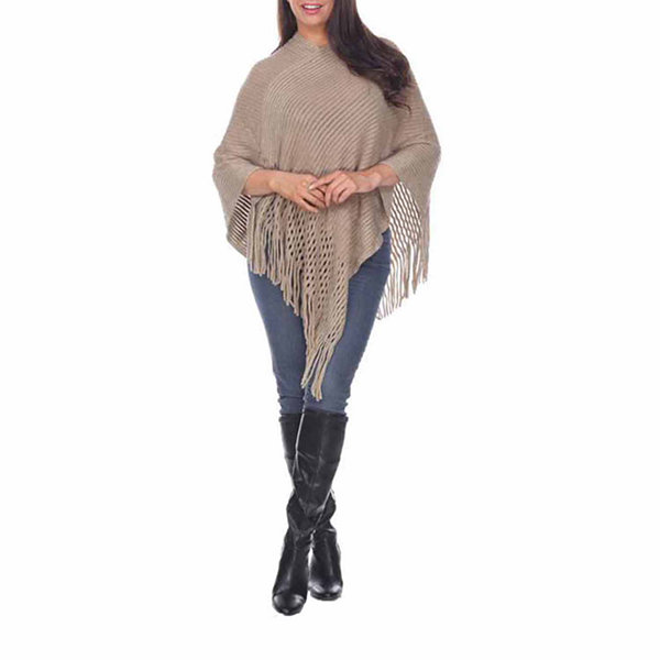 White Mark 'Sansa' Gold Knit Fringe Poncho