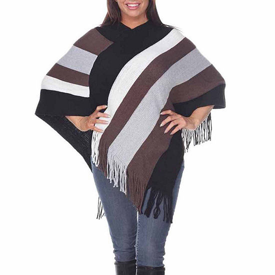 White Mark Womens Round Neck Striped Poncho