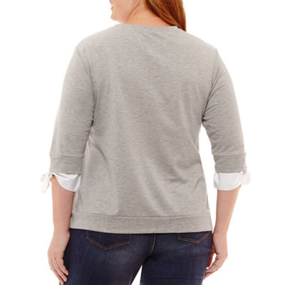 3/4 Sleeve Crew Neck Pullover with Tie Sleeves - Plus