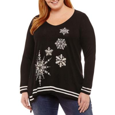 Unity World Wear Long Sleeve Snowflake Sweater Tunic-Plus