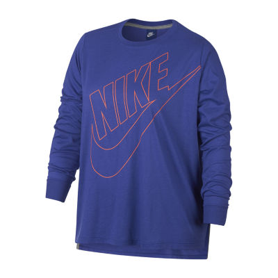 Nike Long Sleeve Crew Neck T-Shirt-Womens Plus