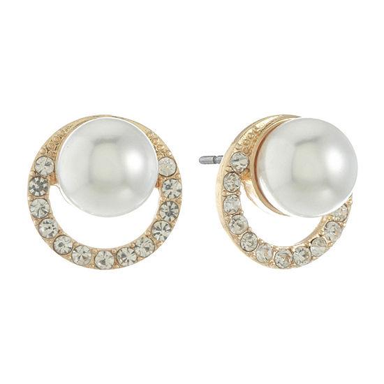 Monet Jewelry White 15.7mm Stud Earrings