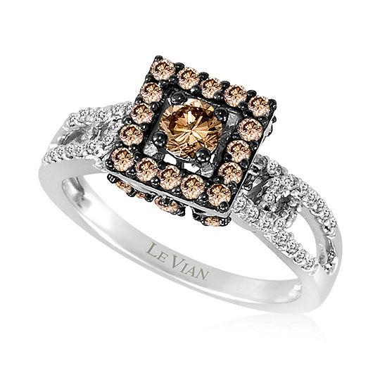 LIMITED QUANTITIES Le Vian Grand Sample Sale™ Ring featuring Chocolate Diamonds®, Vanilla Diamonds® set in 14K Vanilla Gold®