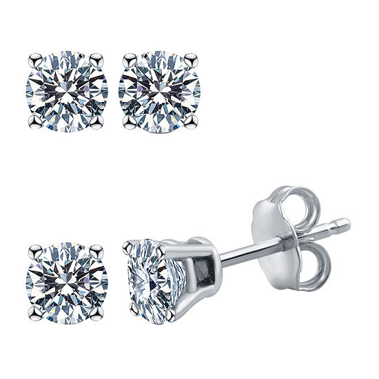 Deluxe Collection 1/4 CT. T.W. Genuine White Diamond 14K White Gold 3.2mm Stud Earrings