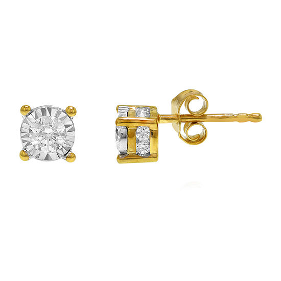 Tru Miracle 1/2 CT. T.W. Genuine White Diamond 10K Gold 5.8mm Stud Earrings
