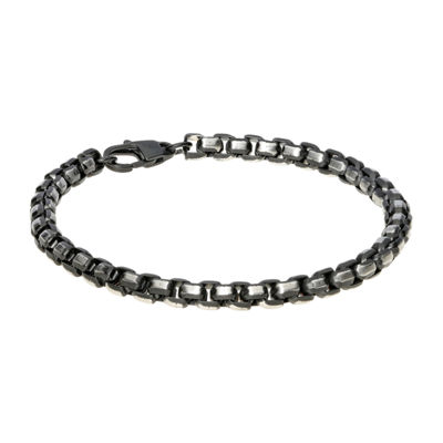 Stainless Steel 8 1/2 Inch Solid Box Chain Bracelet